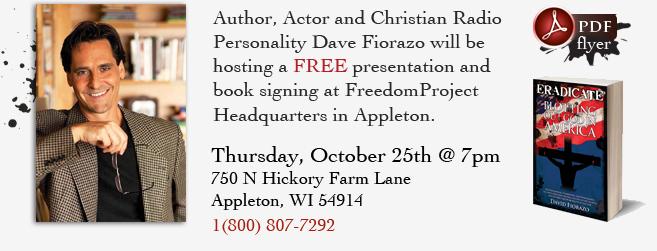 Book Signing, October 25 in Appleton, WI