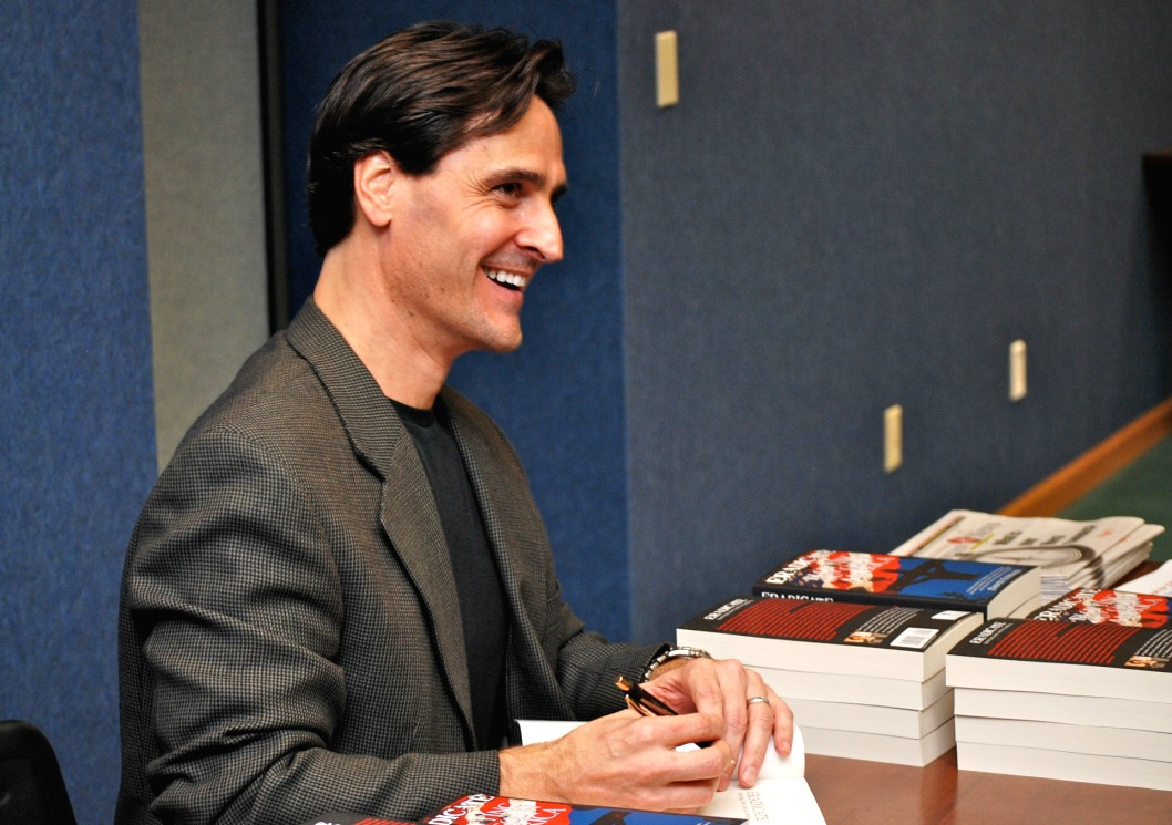 David signing books
